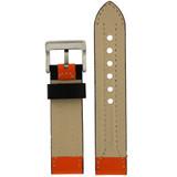 Durable Leather Contrast Watch Band in Black & Orange LEA600 | TechSwiss | Rear