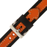Durable Leather Contrast Watch Band in Black & Orange LEA600 | TechSwiss | Buckle