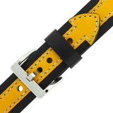 Yellow and Black Contrast Leather Sport Watch Band   LEA601 Buckle