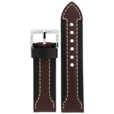 Durable Leather Watch Band in Black & Brown LEA603 | TechSwiss | Front