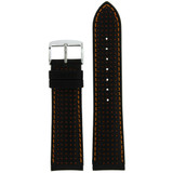 Thick Leather Watch Band in Black & Orange LEA606 | TechSwiss | Front