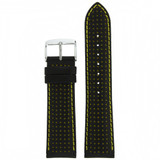 Thick Leather Watch Band in Black & Yellow LEA608 | TechSwiss | Front