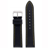 Watch Band Carbon Fiber Black Yellow Stitching Padded LEA640 | Front