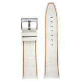 Watch Band White Leather Crocodile Grain Orange Stitching