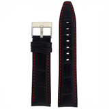 Watch Band Black Leather Crocodile Grain Red Stitching Heavy Buckle