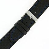 Watch Band Carbon Fiber Black Blue Stitching Padded 18mm-24mm