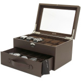 20 Watch Box Storage Case Brown Leather with Glass Window Lock (TS4577BRN) Side Open
