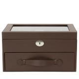 20 Watch Box Storage Case Brown Leather with Glass Window Lock (TS4577BRN) Front