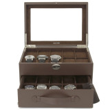 20 Watch Box Storage Case Brown Leather with Glass Window Lock (TS4577BRN) Front open