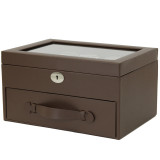 20 Watch Box Storage Case Brown Leather with Glass Window Lock (TS4577BRN) Side closed