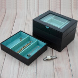 Black Stackable Jewelry Tray | Leather Jewelry Drawer Trays | Stackable Organizers | TechSwiss  TSA6905BLK | Stackable Set