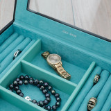 Black Stackable Jewelry Tray | Leather Jewelry Drawer Trays | Stackable Organizers | TechSwiss  TSA6905BLK | Top