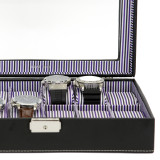 Black Leather and Purple Pinstripe Mens Watch Display Case   TechSwiss Modern Watch Cases    TechSwiss TS2870BLK   Lining