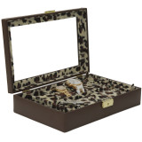 Ladies Leather Jewelry Box with Animal Print | TechSwiss TS2800BRN | Side