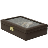 Ladies Leather Jewelry Box with Animal Print | TechSwiss TS2800BRN | Closed View
