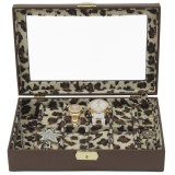 Ladies Leather Jewelry Box with Animal Print | TechSwiss TS2800BRN | Open Front