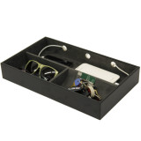 Valet Tray Charging Station Cell Phones Coins Keys Jewelry Leather - Black