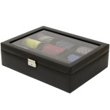 Black Leather Tie Organizer and Case | Mens Luxury Tie Organizers | TechSwiss TS6411BLK | Main