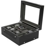 Black Wood Watch Box | Carbon Fiber Accents | Modern Watch Organizers | TechSwiss TSBOX8200CF | Open