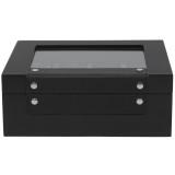 Black Wood Watch Box | Carbon Fiber Accents | Modern Watch Organizers | TechSwiss TSBOX8200CF | Front