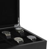 Black Wood Watch Box | Carbon Fiber Accents | Modern Watch Organizers | TechSwiss TSBOX8200CF | Detail