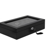 Black & Grey Wood Watch Case 12 Compartments