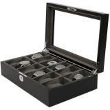 Black & Grey Wood Watch Case 12 Compartments (TSBOXBLK12) Open Side Facing
