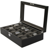 Black & Grey Wood Watch Case 12 Compartments (TSBOXBLK12) Open Side Facing