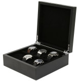 Engravable Black Wood Watch Box | TechSwiss | TSBOX6200BK | Open Case