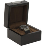 Engravable Single Watch Box - Espresso Brown (TSBX100BRN) front view