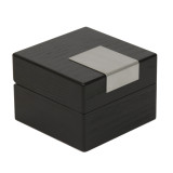 Engravable Black Single Watch Box | TSBX100BLK | TechSwiss Angle Closed