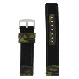 Dark Green Nylon and Leather Camouflage Watch Band | TechSwiss LEA1582 | Main