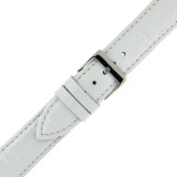 Extra Long White Leather Watch Band | Long Crocodile Grain Watch Strap | TechSwiss LEA230XL | Buckle