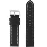 Long Black Leather Carbon Fiber Print Watch Band  | TechSwiss Long Leather Straps | TechSwiss LEA462L | Main
