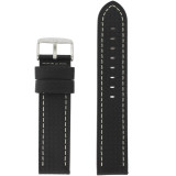 Long Black Leather Carbon Fiber Print Watch Band  | TechSwiss Long Leather Straps | TechSwiss LEA462L | Main