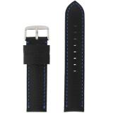 Leather Band Black Blue Stitching LEA1573