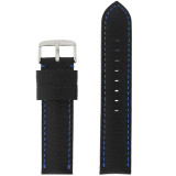 Leather Band Black Blue Stitching LEA1573 | Front
