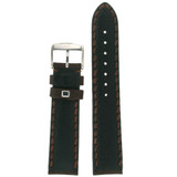 Heavy Stitched Dark Brown Leather Padded Mens Watch Band 20mm - 24mm