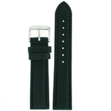 Waterproof Soft Leather Black Sport Watch Band 18mm - 24mm