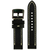 Thick Watch Band in Black Leather | Heavy Duty Straps | Interior | TechSwiss LEA1557