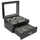 20 Watches Black Distressed Solid Wood Finish Extra Large Compartments Display Window Watch Box