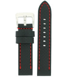 Watch Band Carbon Fiber Leather Black Red Stitching Heavy Buckle 22mm 24mm