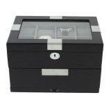 TSBOXBLK16 large watch box closedBlack Watch Box - Store up to 16 boxes - Black with Metal Tabs - Front
