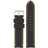Padded Black Watch Band Yellow Stitching LEA1570 | Front