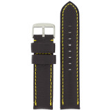 Padded Black Watch Band Yellow Stitching LEA1570 | Front