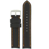 Padded Black Watch Band Orange Stitching LEA1571 | Front