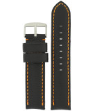 Padded Black Watch Band Orange Stitching LEA1571 | Front