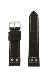 Leather Pilot Style Watch Band Black White Stitching