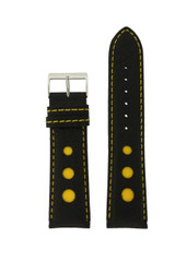 Sport Watch Band with Black Leather and Yellow Accents | Topstitched Watch Straps | Replacement Band LEA1260 by TechSwiss | Main