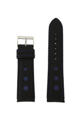Sport Watch Band with Black Leather and Blue Cut Outs Accents | Topstitched Watch Straps | Replacement Band LEA1261 by TechSwiss | Main